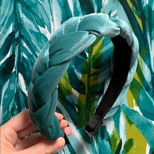 NEW teal turquoise velvet braided twisted headband